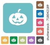 halloween pumpkin white flat... | Shutterstock .eps vector #718042189