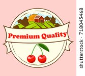 colorful vintage cherry label... | Shutterstock .eps vector #718045468
