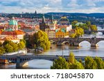 scenic view on vltava river and ... | Shutterstock . vector #718045870