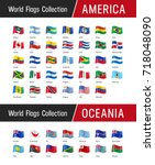 flags of america and oceania ... | Shutterstock .eps vector #718048090