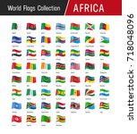 flags of africa  waving in the... | Shutterstock .eps vector #718048096