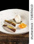 Small photo of Haute cuisine, pink Trout fillet with cavia, Fine dining