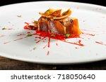 haute cuisine  pork confit... | Shutterstock . vector #718050640
