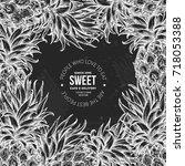 chalkboard pineapple design... | Shutterstock .eps vector #718053388