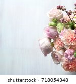 flowers composition with place... | Shutterstock . vector #718054348