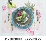 table setting in rustic style ... | Shutterstock . vector #718054600