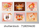 autumn sale banner and season's ... | Shutterstock .eps vector #718054630