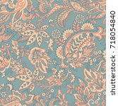 vintage floral seamless patten... | Shutterstock .eps vector #718054840