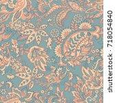 vintage floral seamless patten... | Shutterstock .eps vector #718054840
