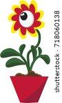 cute cartoon magic flower with... | Shutterstock .eps vector #718060138