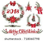 merry christmas  happy new year ... | Shutterstock .eps vector #718060798