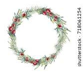 christmas botany illustration.... | Shutterstock . vector #718061254