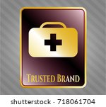 gold emblem or badge with... | Shutterstock .eps vector #718061704
