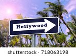 hollywood arrow sign. | Shutterstock . vector #718063198
