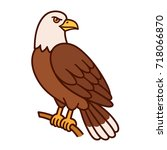 bald eagle sitting on branch.... | Shutterstock .eps vector #718066870