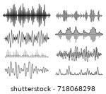 vector sound waves set. audio... | Shutterstock .eps vector #718068298