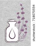 lavender essential oil logo.... | Shutterstock .eps vector #718070554
