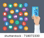 payment by credit card. system... | Shutterstock .eps vector #718072330