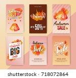 autumn sale vertical banner... | Shutterstock .eps vector #718072864
