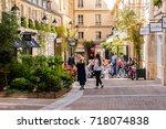 paris  france   april 11  2017  ... | Shutterstock . vector #718074838