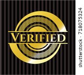 verified golden badge   Shutterstock .eps vector #718075324