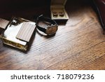 watch  perfume bottle and... | Shutterstock . vector #718079236