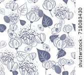 seamless flower pattern   Shutterstock .eps vector #718083430