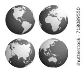 set of four planet earth globes ... | Shutterstock .eps vector #718089550