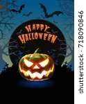 jack o lantern glowing at... | Shutterstock .eps vector #718090846