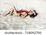 close up beautiful luxury slim... | Shutterstock . vector #718092700