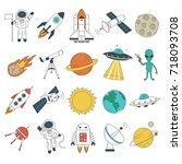 set of space objects. spaceship ... | Shutterstock .eps vector #718093708
