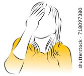 a woman is holding her eyes.... | Shutterstock .eps vector #718097380