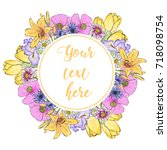 floral greeting card with...   Shutterstock .eps vector #718098754