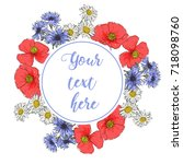 floral greeting card with...   Shutterstock .eps vector #718098760