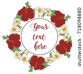 floral greeting card with...   Shutterstock .eps vector #718098880