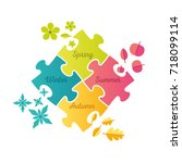 seasons puzzle infographic  ... | Shutterstock .eps vector #718099114
