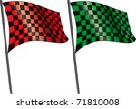 red checkered flag and green...   Shutterstock .eps vector #71810008