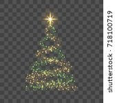 christmas tree on transparent... | Shutterstock .eps vector #718100719