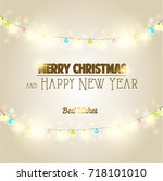 merry christmas and happy new... | Shutterstock . vector #718101010