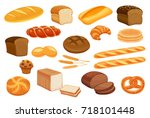 set vector bread icons. rye and ... | Shutterstock .eps vector #718101448