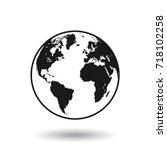 detailed black and white world... | Shutterstock .eps vector #718102258