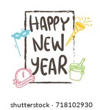 new year greeting card design | Shutterstock .eps vector #718102930