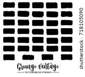 set of black brush stroke and... | Shutterstock .eps vector #718105090