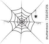 hand drawn spider in web | Shutterstock .eps vector #718105156