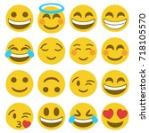 emoji face smiley icon hand... | Shutterstock .eps vector #718105570