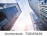 bottom view of office building... | Shutterstock . vector #718105636