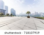 empty floor with modern... | Shutterstock . vector #718107919