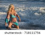 lovely blond female model in... | Shutterstock . vector #718111756