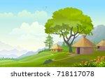 a settlement amid a beautiful...   Shutterstock .eps vector #718117078