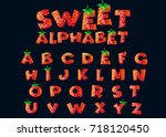 cartoon sweet alphabet set.... | Shutterstock .eps vector #718120450